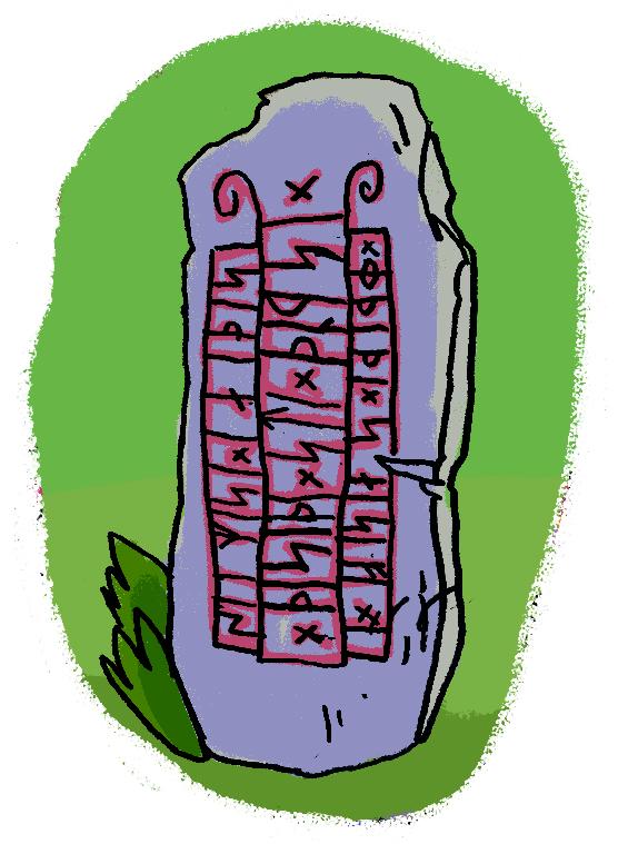 Runenstein mit Hintergrund